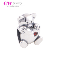 Bear Holding Heart Sterling Silver Charm Bead With Red Stones