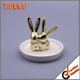 Gold plated rabbit desgin small ceramic jewelry dish