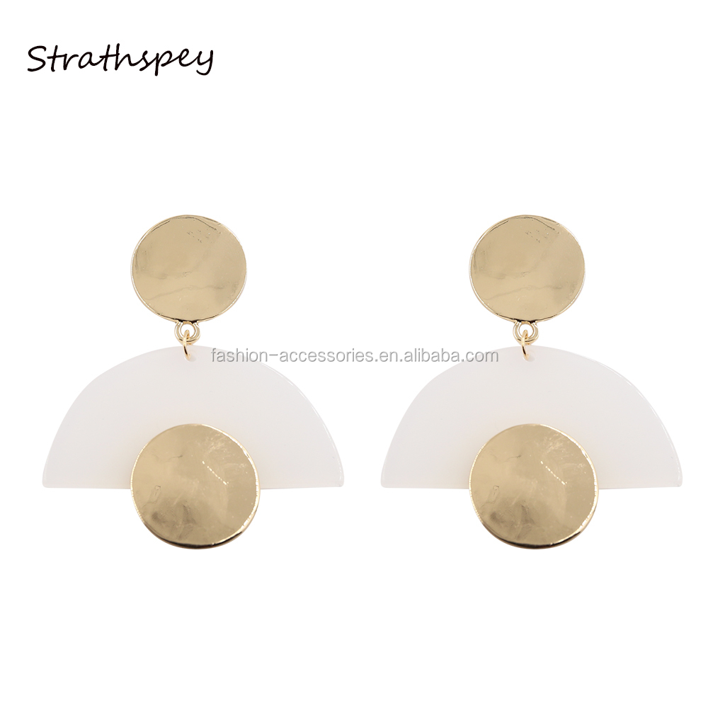 Fashion Fancy Design Gold Women Metal Two Circle Shape Geometric All Types Of Plastic Acrylic Drop Hanging Stud Earrings