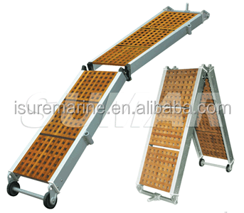 FOLDING GANGWAY WITH WOODEN GRATINGS FOR BOAT SHIP MARINE