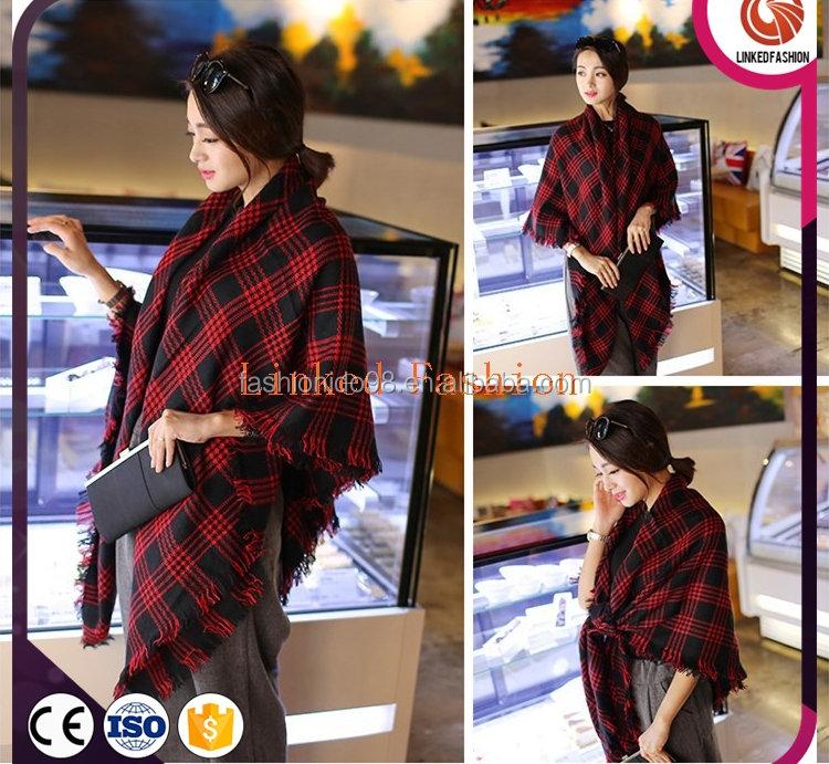 Fashion Women Pashmina Cashmere Oversize STRIPED PATTERN WINTER SCARF