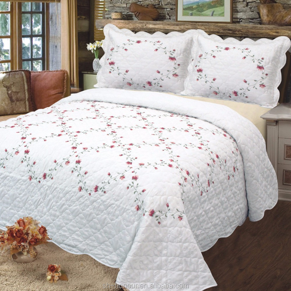 Bedcover solid knitted embroidery bedspreads