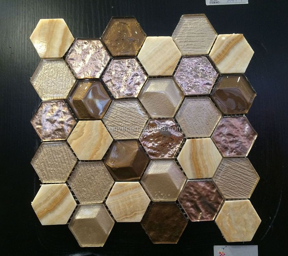 Yellow wood marble stone and glass material mix hexagon shape mosaic tile