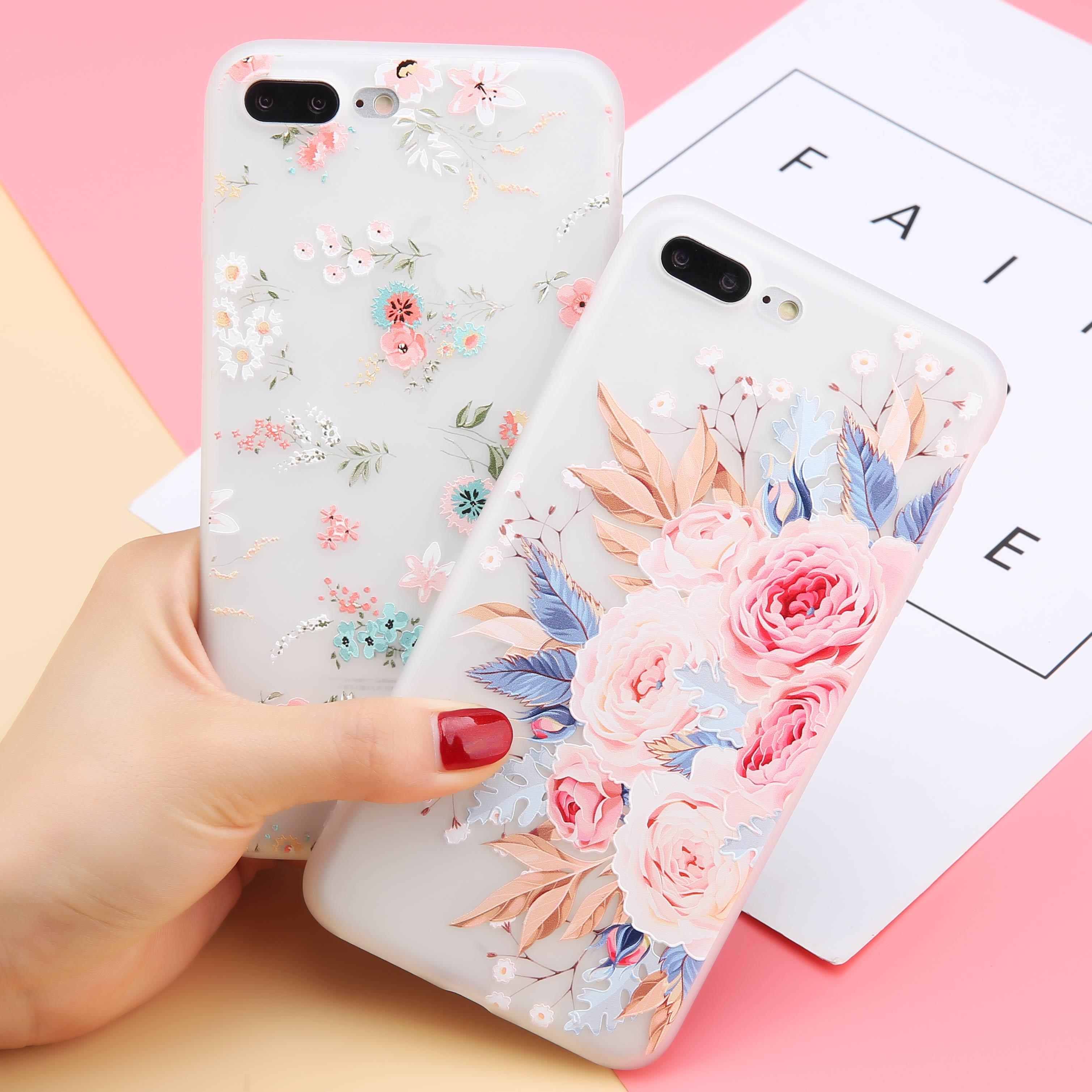 USLION Print Flower Transparent Soft TPU Phone Case for iPhone X XR XS <strong>MAX</strong> 5 6 7 8 Plus