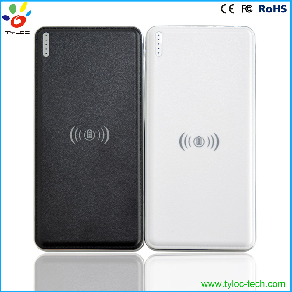 Universal 2 port wireless charger QI wireless charger full 10000mah power bank for smartphone