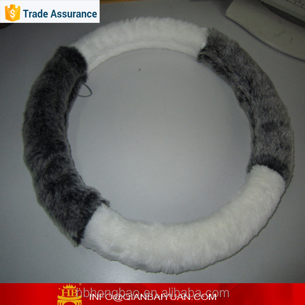 Winter soft fur car steering wheel cover