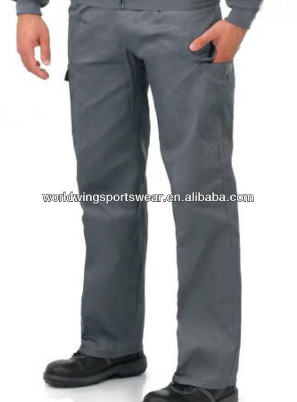 Mens customized heavy polyester cotton grey pockets work trousers