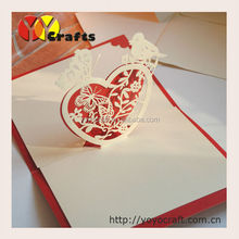 Customized latest love birds party decoration 3d pop up wedding invitation cards