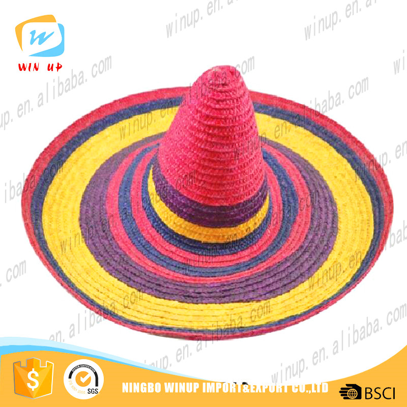 wholesale rainbow color mexican sombrero straw hat mexico hat