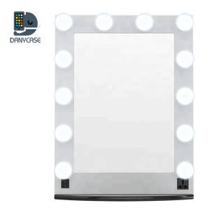 12 Dimmer Bulbs Hollywood Make up LED Mirror Lighted Vanity Mirror Table top Wall Mounted Cosmetic Mirror with Touch Screen