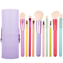 10Pcs Professional Colorful Wood Handles Synthetic Hairs Makeup Brush Set with Cosmetic Brush Holder