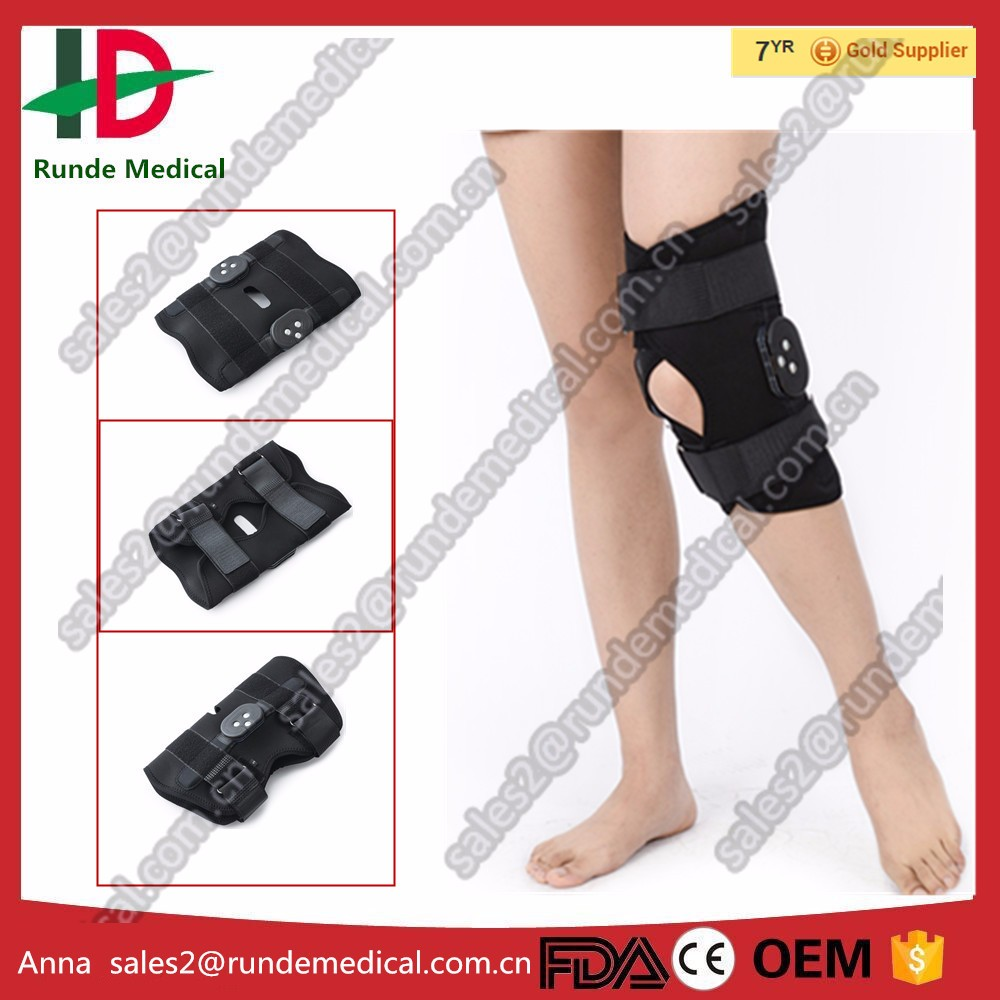 Medical hinged rom knee brace for orthosis function with CE approved (factory)