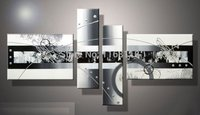 hand-painted wall art white Black lines point home decoration abstract Landscape oil painting on canvas 4pcs/set,mixorde