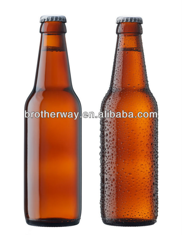 330ml glass beer bottle with crown,cola glass bottle cap