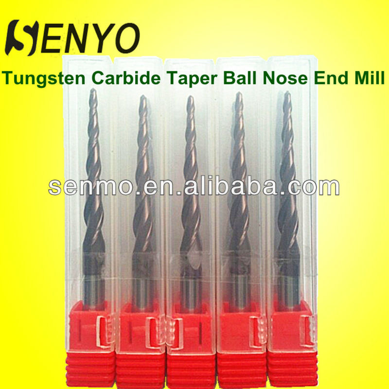 Senyo Wood Carving Tools For 3D Engraving/Carbide Taper End Milling Cutter Ball Nose End Mill Tool