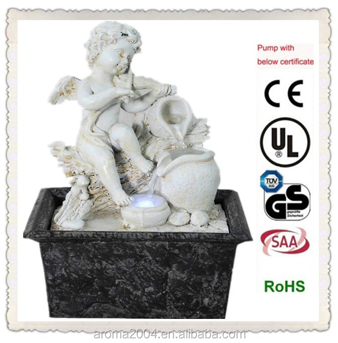 small polyresin tabletop water feature ivory angel craft