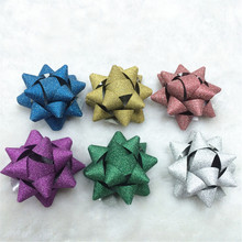 Cheap Christmas craft super glitter mini star bow for gift packing