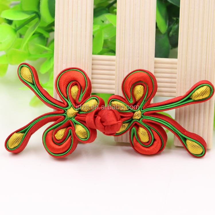 Chinese frog button handmade elasticity silk knot chinese knot cufflink with bead