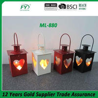 Hot selling cheap metal mini tealight lantren with heart design for Spring festival decoration
