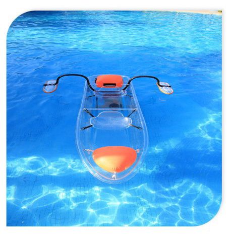 safety and unsinkable plastic polycarbonate transparent PC kayak for two person
