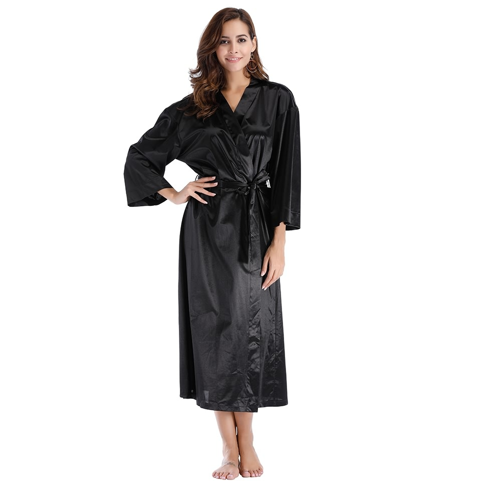 Womens Black Nightgown Satin Robe 8c850b6cec