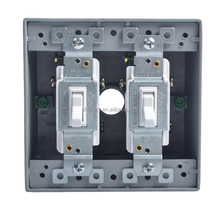 15 Amp, 120 Volt, Toggle 3-Way White/Black Switch, Residential Grade, Grounding with 2-Gang Weatherproof Box Stell Plate