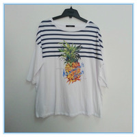 Women Ladies Pineapple Printed Summer Knit Shirt, Fashion Syle Striped Casual Wear, Crewneck T Shirt