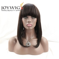 "Joywigs Instock 150% 14"" Indian Remy Human Hair Lace Front Wig With Bang"