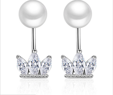 Simple fashion Pearl crown zircon earrings free earrings
