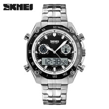 SKMEI Branded watch dual time quartz stainless steel watches #1204