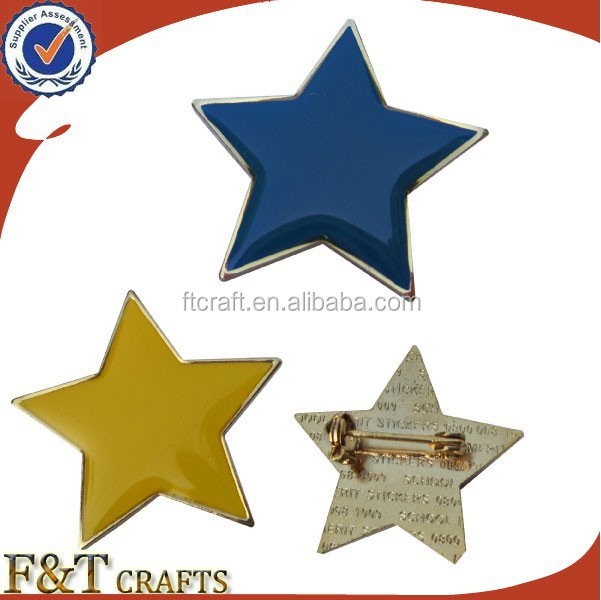 colourful stars soft enamel with expoy lapel pins emblem badge with safety pin