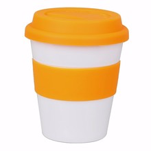 Wholesale BPA-free PP plastic 12oz 350ml mini single wall keep warm cup coffee mug with silicone cover