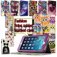 2015 New Printed Patterns Wallet Leather Tablet Bag Case for IPad Air 2