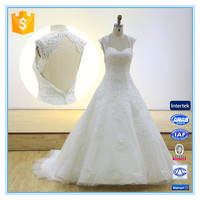 Latest Elegant V-neck Backless Lace Embroidery Mullet Wedding Dress Bridal