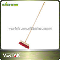 Street broom with wooden handle