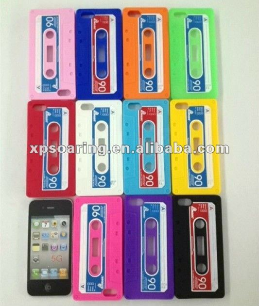 for iphone 5 cassette silicon case back cover