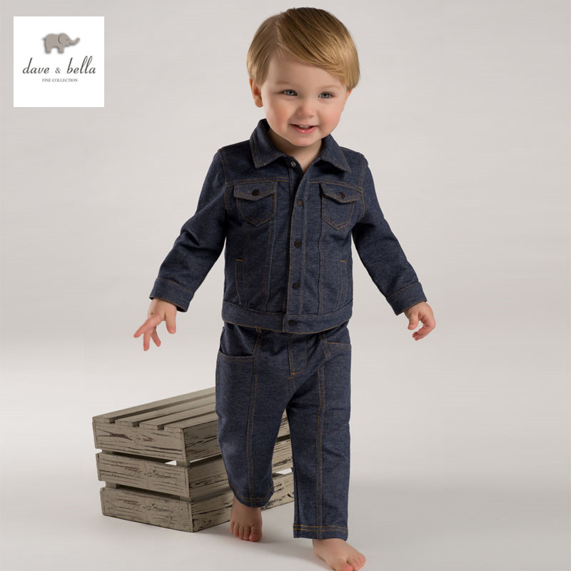 DB3781 dave bella spring autumn baby boys denim clothing sets baby 1set boys cool denim jeans sets kid clothing set