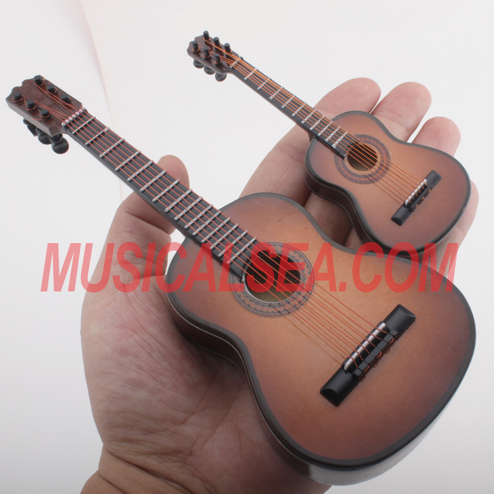 Miniature brown guitar hand-made craft musical instrument christmas ornament