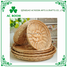 AC ROOM natural wicker knitting round food tray