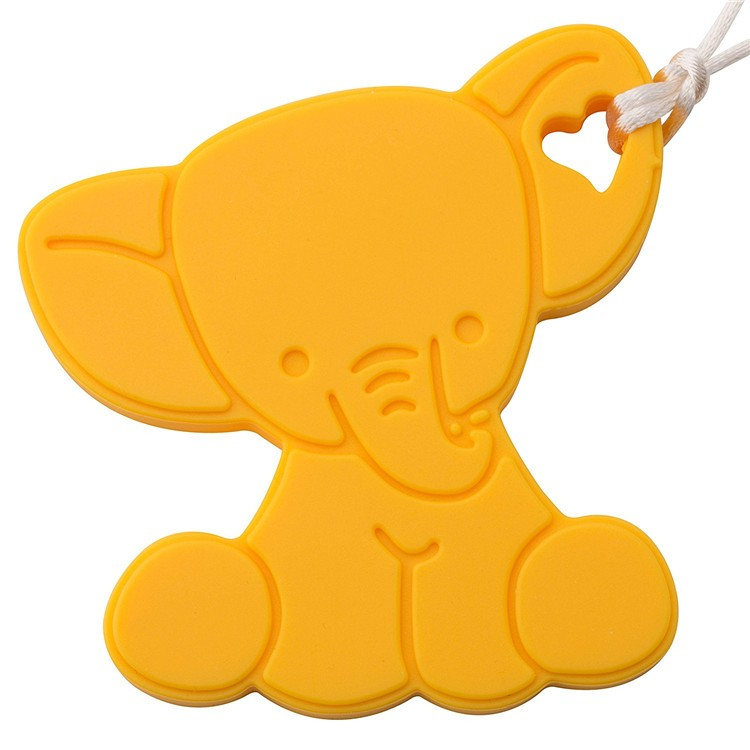 Funny Baby Silicone Elephant Teether Wholesale with Neck Rope