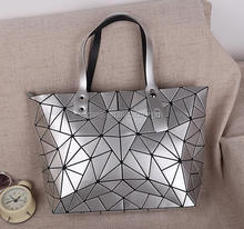 Fashion Durable Laser Hologram Geometric Design Split Joint Plaid TPU PU Leather Tote Bag For Women