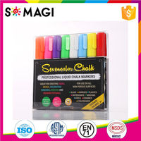 Eco friendly Fluorescent vibrant colors Chalk marker pens with non-toxic dustless