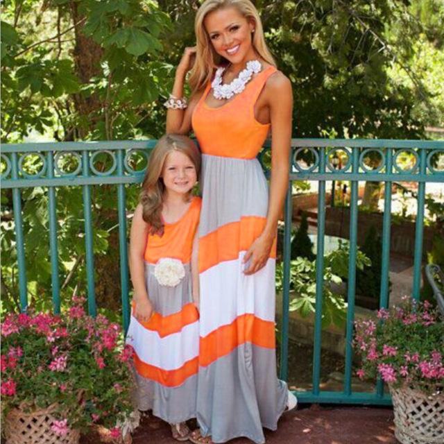 Halloween orange long dress mom and me clothes dress stripe woman dress