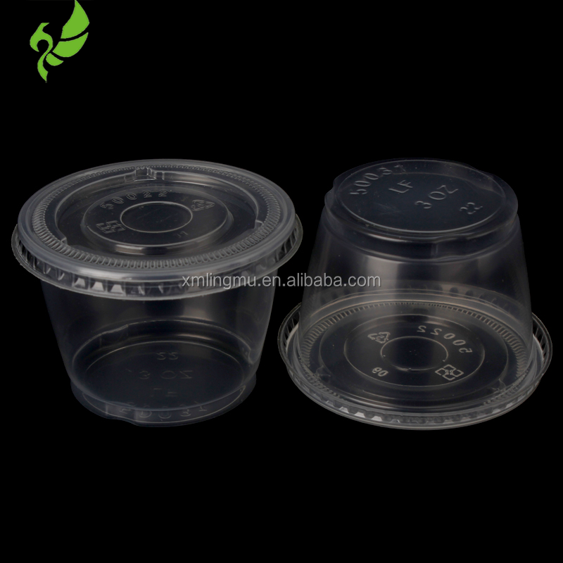 Many Size Plastic Cup and Sauce/Salad Box, Disposable Recycled PP Food Container