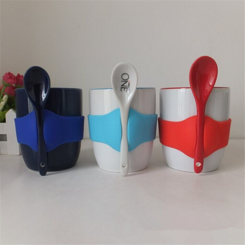 new products 2015 innovative product Solid White ceramic mug with Silicon grip and spoon