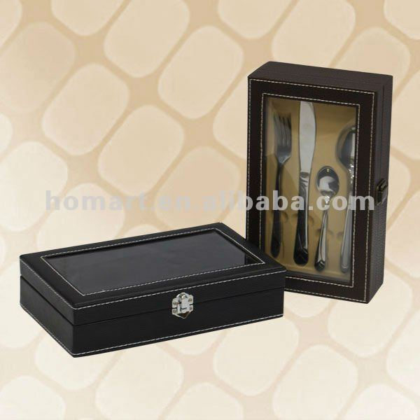 24pcs cutlery set black wooden packing cases