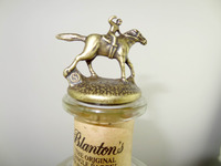 Blanton's Single Barrel Bourbon Whiskey Bottle With Letter N Collector Cork Wine Stopper Horse and Jockey