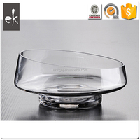 Made In China new product Clear slanted bowl shape Oven Glass Vase