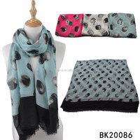 Stock latest design black lace retro style dot pattern print bamboo scarf