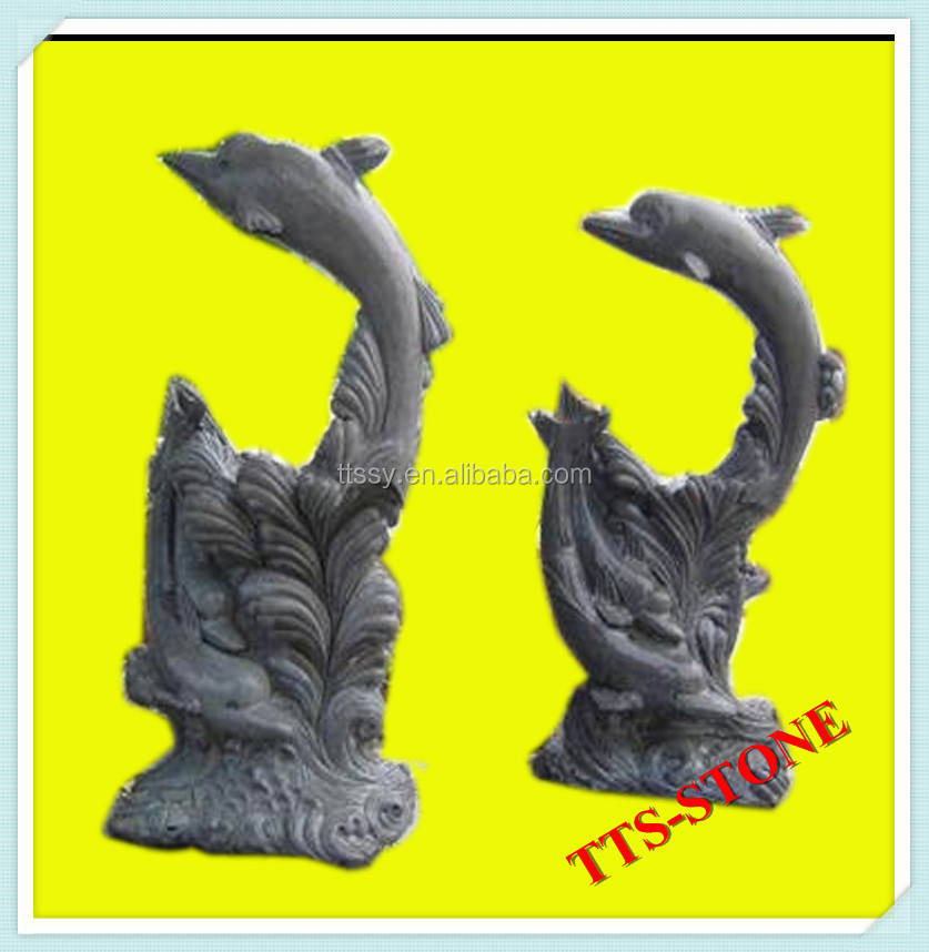 Natural granite dolphin statue
